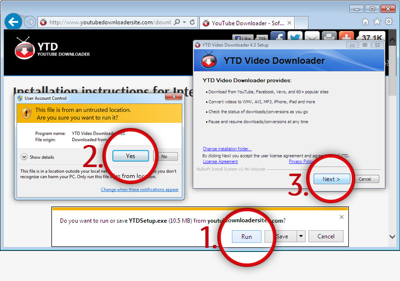Installation instructions for Internet Explorer 9+